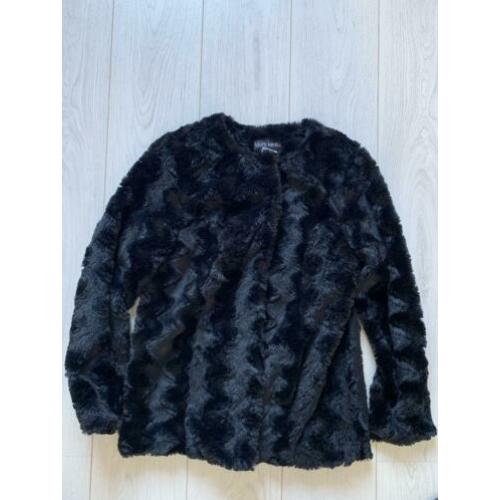 Laura Kent fake-fur zwarte jas mt:38